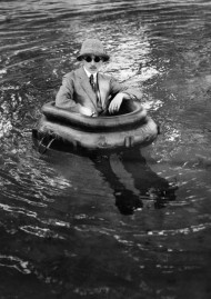 "Jacques-Henri Lartigue, ""Zissou in his tyre-boat"", Rouzat, July 14th 1911, black and white photograph. Photograph by Jacques-Henri Lartigue © Ministère de la Culture / AAJHL."