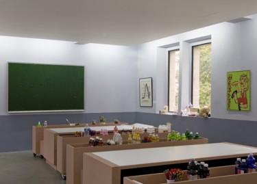 Oeuvres de Bertrand Lavier, Raoul Hausmann et Robert Combas. Photographie Pascal Martinez, vue de la salle pédagogique.