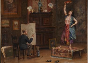 """A.Bonnichon, """"Peintre représentant dans son atelier parisien son modèle en orientale, fin du XIXe siècle"""""""