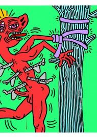 Keith Haring, St. Sebastian, 1984, Acrylique sur mousseline