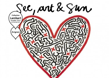 SEE ART AND SUN. Visuel créé à partir de l'oeuvre de Keith Haring, Untitled, 1984, © The Keith Haring Foundation, New York
