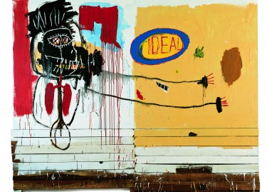 """Jean-Michel Basquiat, """"She Installs Confidence And Picks Up His Brain Like A Salad"""", 1987, huile et acrylique sur bois"""